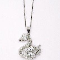 Silver 925 Necklace Chain, Veneta, Charm Pendant - Swan Cubic Zirconia Drop image 3