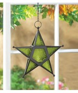 12 Hanging  Star Candle Lanterns w/ Green Pressed Glass Use Indoors/Outd... - $124.95