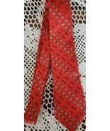 """Paco Rabanne ~ Paris ~ 100% Silk ~ 56"""" Long Necktie ~ Red w/Gray Detail - $15.84"""