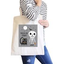 Trick-Or-Treat Skeleton Black Cat Natural Canvas Bags - $19.89 CAD