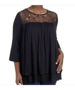 CHA CHA VENTE Women's  Size Large Embroidered Mesh Yoke Top NEW - $18.49