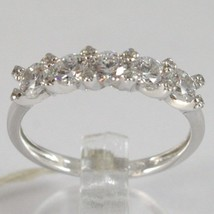 WHITE GOLD RING 750 18K, VERETTA 5 ZIRCON CUBIC CT 1.00, MADE IN ITALY image 1