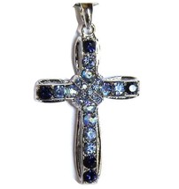 Womens Aurora Borealis Crystal Sapphire Blue Multicolor Cross Pendant Necklace - $29.50