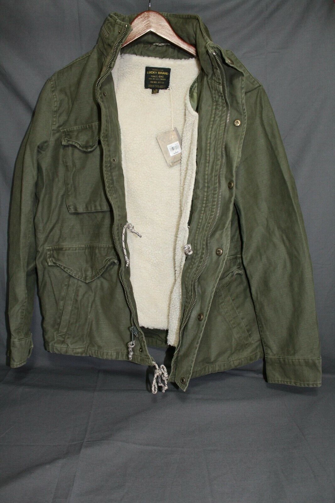 NEW Men's LUCKY BRAND Military Field Jacket M-65 Removable Sherpa Olive LRG $189