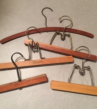 Set of 5 Vintage 50s wooden skirt and clothes hangers