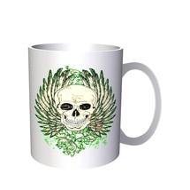 Winged Skull and Banner Novelty Art 11oz Mug oo8 - $10.83