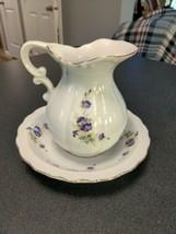 """vintage 1984 Lefton China 6"""" floral pattern pitcher - $11.88"""