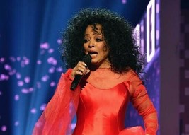 Diana Ross in red dress holding microphone singing circa 1990's 5x7 inch... - $5.75
