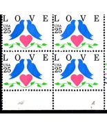 USPS Stamps - 25 cent Love, Doves Issue (Plate Block of 4) - $2.50