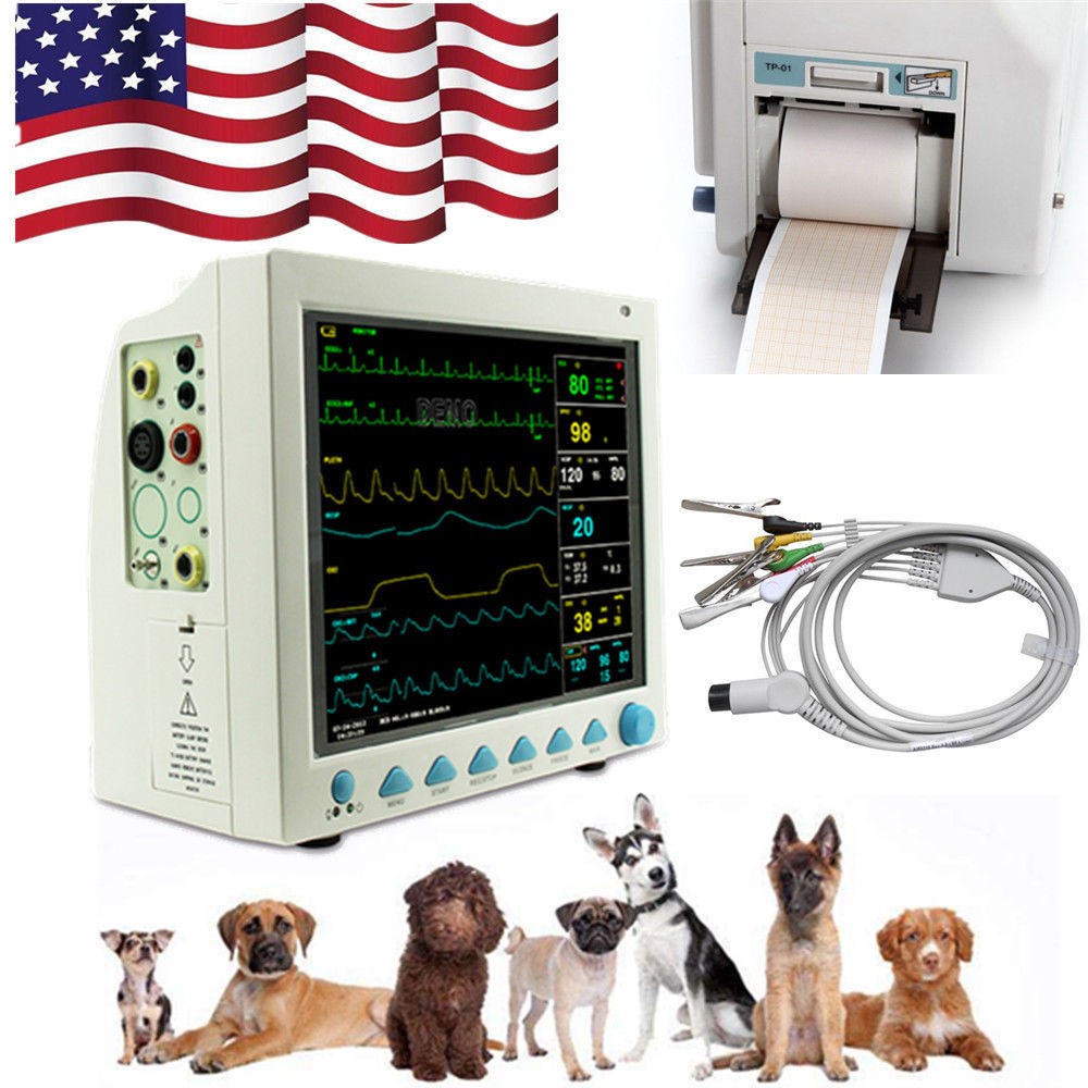 Veterinary Vital Signs ICU Patient Monitor 6 Parameter with Printer 12.1 Inch,US