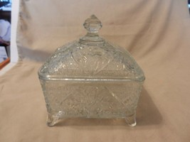 Vintage 4 Footed Glass Candy Dish, Trinket Box with Lid Raised Flowers D... - $74.24