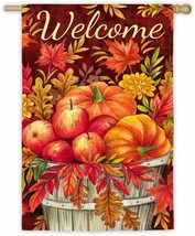 Evergreen Apples and Pumpkins Outdoor Safe Double-Sided House Flag  29 x 43 - $19.99