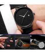 Quartz Watch Men Ultra Thin Minimalist Slim Leather Strap Stainless Stee... - $8.35