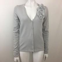 Adrienne Vittadini Studio Gray Rosette Cardigan Sweater Size Small - $24.74