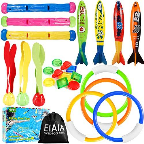 EIAIA Pool Toys for Kids - Under Water Diving Toys Swim Toys Set, 24 Pack Includ