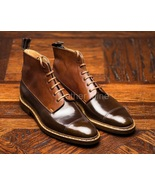 Men's Handmade Brown Leather Derby Boots, Genuine Leather Dress Boots Fo... - $179.99+