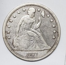 1871 Seated Dollar $1 Silver Coin Lot# MZ 4786