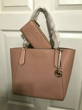 Michael Kors Kimberly Large Top Zip Pebbled Leather Tote/Wallet Pastel Pink - $154.36