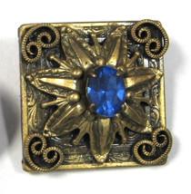 Edwardian Blue Rhinestone Brooch Pin Square Hand Made 1900-1910 Sweet Starburst  - $22.00