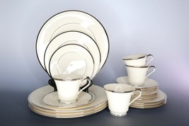 4 Vintage Lenox China Place Settings, Lenox Solitaire Platinum Ivory - $219.00