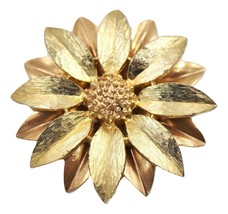 Vintage 1960s Sarah Coventry Daisy Satin Petals Flower Floral Brooch Pin - $19.79