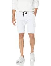BROOKLYN ATHLETICS Men's Cargo Slim Fit Multi Pocket Stretch Twill Short, White,