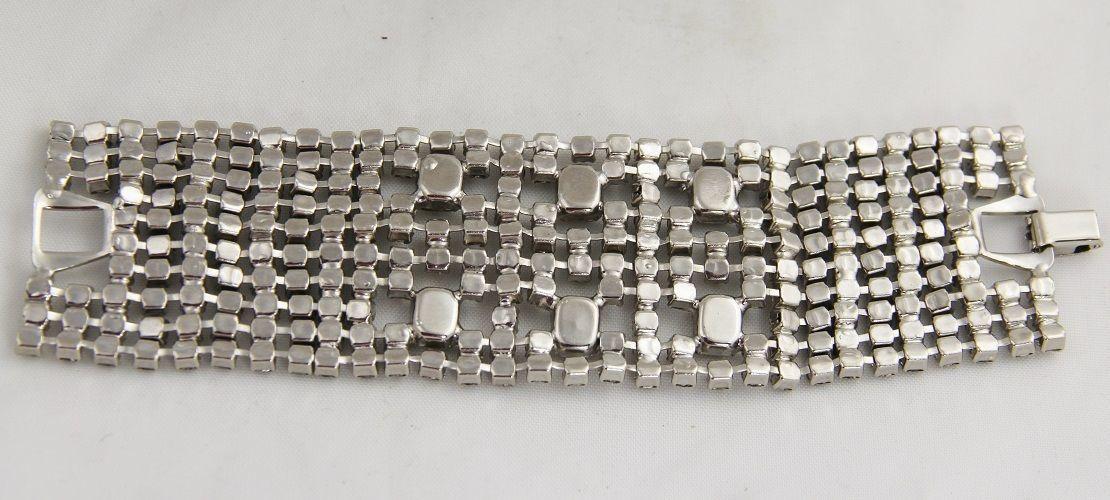 "80s VINTAGE Jewelry TEN ROW ICE RHINESTONE BRACELET EMERALD CUT & CHATON - 7"""