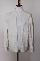Christopher & Bank Large Ivory Cream Full Zip-Up Long Sleeve Textured Sw... - $15.00