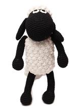 White-Black Sheep Handmade Amigurumi Stuffed Toy Knit Crochet Doll VAC - $30.69