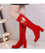 woman chic gold butterfly hot stamped boot, size 3-10.5, red - $68.80