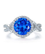 3 Ct Navy Blue Stone 925 Sterling Silver Wedding Engagement Luxury Ring ... - $119.99