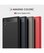 C-KU® Silicone Carbon Fiber Brushed Soft TPU Armor Phone Case for Sony XA1 Ultra - $4.60