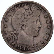 1915-D 50C Barber Half Dollar in Fine Condition, Natural Color, Full LIB... - $57.16