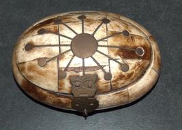 Antique Oval Trinket Snuff Pill Box Bovine Bone Brass Inlay Handmade image 2