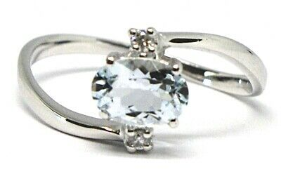 18K WHITE GOLD BAND RING AQUAMARINE 0.65 OVAL CUT & DIAMONDS, MADE IN ITALY