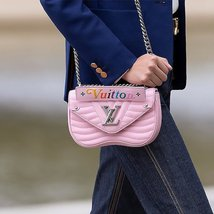100% AUTH Louis Vuitton PINK NEW WAVE CHAIN EPI Leather MM Shoulder Bag image 9