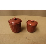 Linens and Things Food Containers (2 sizes) Fire Brick Red Lot Of 2 Ceramic - $21.89