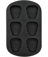 Wilton Skull 6 Cavity Silicone Mold Halloween Black - $13.85