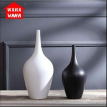 Chinese Ceramic Flower Receptacle Tabletop Vase Ornaments Black and Whit... - $34.54+