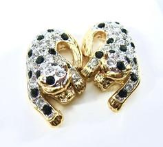 Rhinestone Leopard Earrings, Clear Rhinestones, Black Spots, Gold Tone, 1980's,  - $22.00
