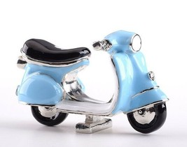 Faberge blue A moped Trinket box hand made by Keren Kopal with Austrian crystals - $62.10