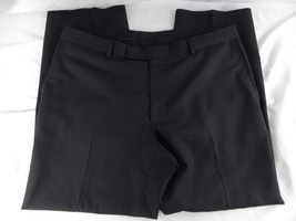 Hugo Boss Mens 38W Black/Grey Pinstripe 100% Wool James Brown Flat Front Slacks  - $39.60