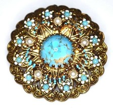 VTG AUSTRIA Signed Gold Tone Faux Turquoise Pearl Glass Filigree Pin Brooch - $84.15