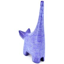 "Tabaka Chigware Hand Carved Kisii Soapstone Dark Blue Tail Up Cat 4.5"" Figure image 3"