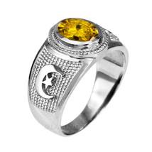 Sterlingsilber islamisch Mondsichel Gelb CZ November Geburtssteine Ring - $49.99
