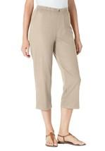 Woman Within Women's Khaki Elastic-Waist Cotton Denim Wide Leg Pant - MEDIUM 16W