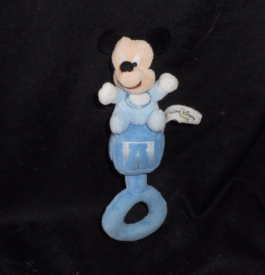 "7"" DISNEY BABY MICKEY MOUSE BLUE ABC BLOCK RATTLE CHIME STUFFED ANIMAL PLUSH TOY"