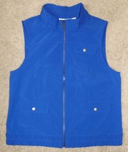 Weekends by Chicos Sz 1 (8) Vest Blue Sleeveless Jacket Zip-Front Snap P... - $24.30