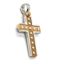 SOLID 18K WHITE & ROSE GOLD SQUARE CROSS, 1.1 INCHES, WORKED, SATIN & SMOOTH image 2