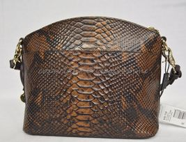 NWT Brahmin Mini Duxbury Shoulder Bag in Tortoise Seville Brown Embossed Leather image 5